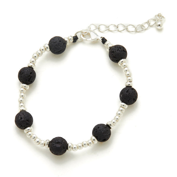 Lava Stone Bracelet in Silver Plate - Flamingo Boutique