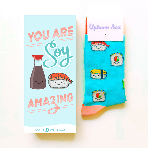 You Are Soy Amazing Sushi Card & Socks - Flamingo Boutique