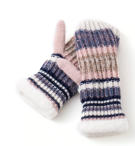 Stripey Knit Mittens with Button Detail - Flamingo Boutique