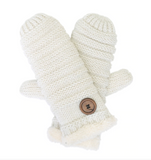 Knitted Mittens with Button Detail - Flamingo Boutique