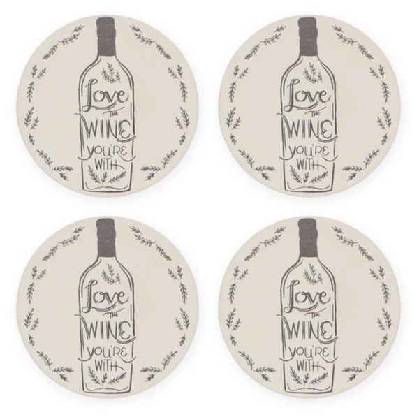 Love The Wine Soak Up Coaster Set - Flamingo Boutique