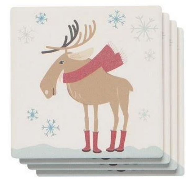 Nice Weather Eh? Moose  Soak Up Coaster Set - Flamingo Boutique