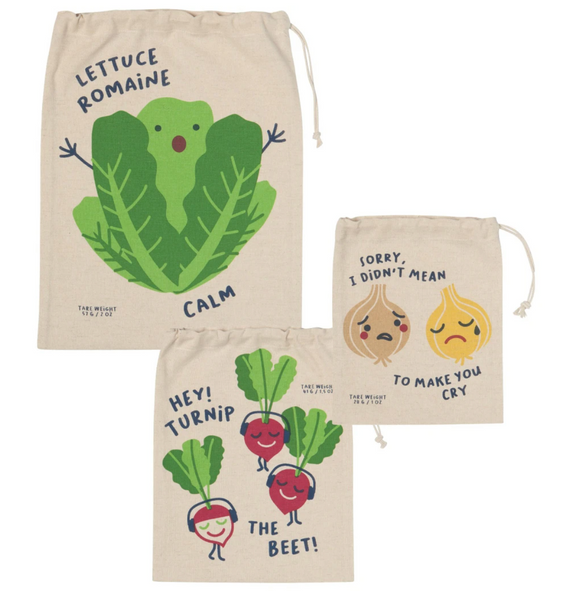 Funny Food Set Of 3 Produce Bags