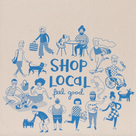 Shop Local Tea Towel - Flamingo Boutique