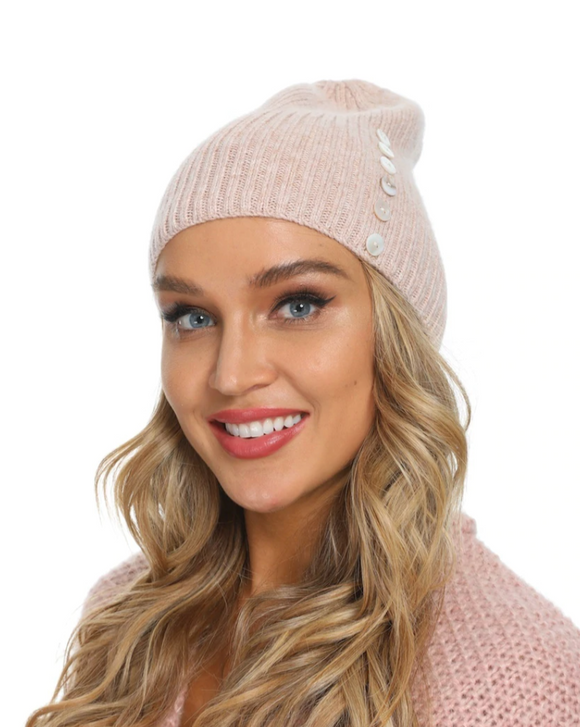 Ribbed Cashmere Beanie with Buttons