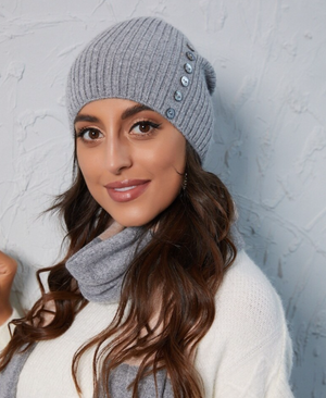 Ribbed Cashmere Beanie with Buttons - Flamingo Boutique