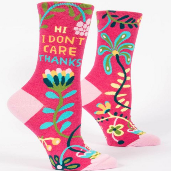 Hi I Don't Care Women's Crew Socks - Flamingo Boutique