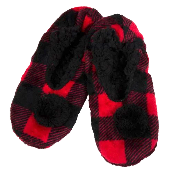Buffalo Plaid Slippers with PomPom