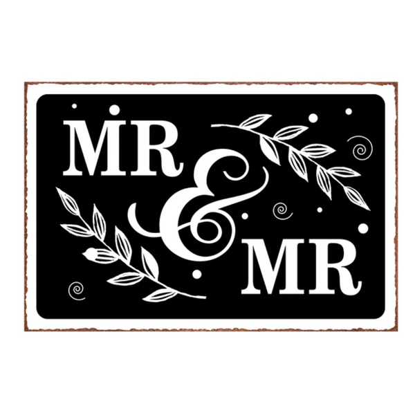 Mr & Mr Embossed Metal Sign