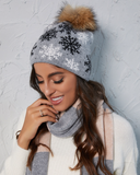 Cashmere Blend Snowflake Hat With Removable Pompom