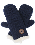 Knitted Mittens with Button Detail