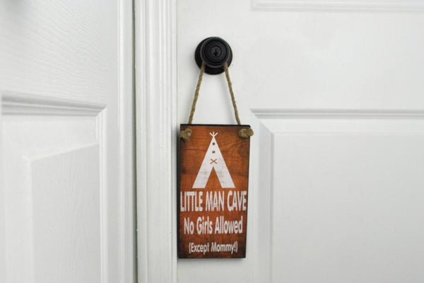 Little Man Cave Hanging Sign - Flamingo Boutique