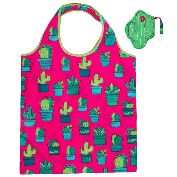 Cactus Foldable Shopping Tote - Flamingo Boutique
