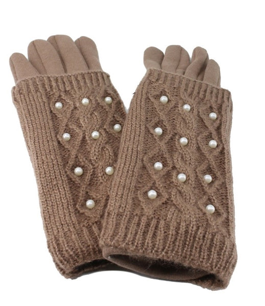 Cable Knit Gloves With Pearl Details