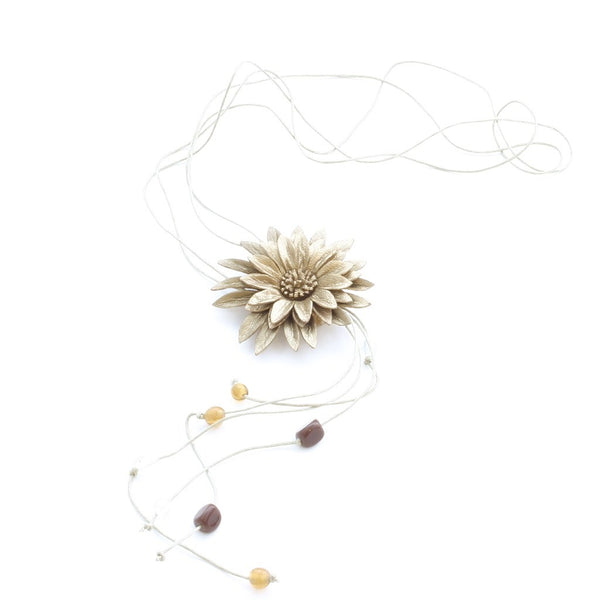 Leather Flower Necklace - Flamingo Boutique