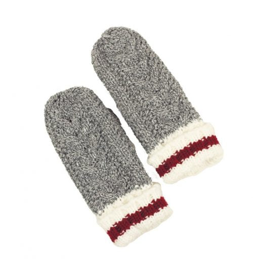 KIDS MIXED GREY KNITTED WORK MITTENS
