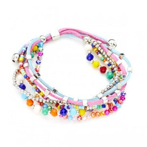 Multi-Strand Suede And Crystal Bead Bracelet - Flamingo Boutique