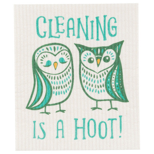 Cleaning Is A Hoot Swedish Dish Cloth - Flamingo Boutique