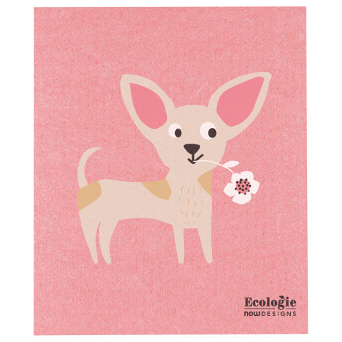 Dog With Flower Swedish Dish Cloth - Flamingo Boutique