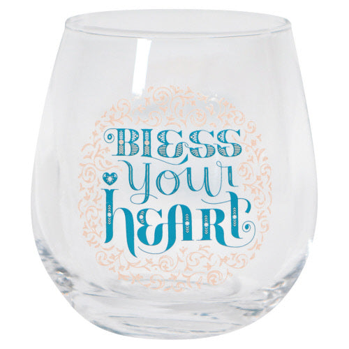 Bless Your Heart Stemless Wine Glass - Flamingo Boutique