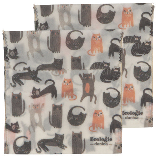Cats Set Of 2 Bees Wax Sandwich Bags