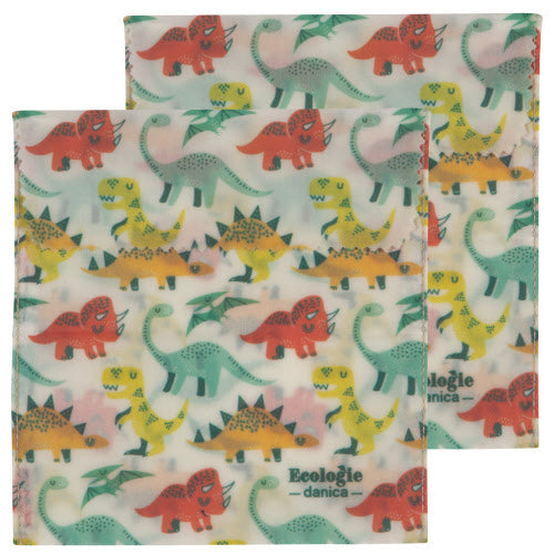 Dandy Dinos Set Of 2 Bees Wax Sandwich Bags