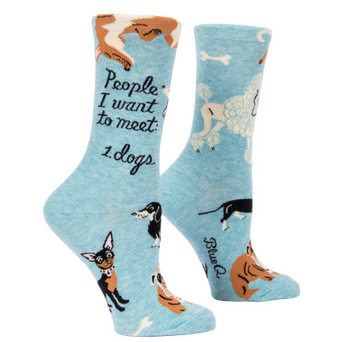 People I Want To Meet: Dogs Women's Crew Socks - Flamingo Boutique