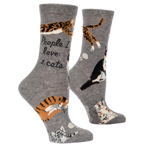 People I Love 1. Cats Crew Socks - Flamingo Boutique