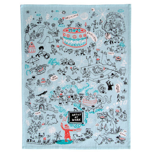Artist At Work Tea Towel - Flamingo Boutique
