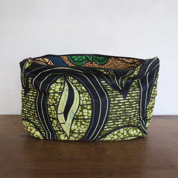 Olive & Neutral African Wax Print Clutch