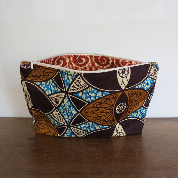 Blue and Earth Tone African Wax Print Clutch