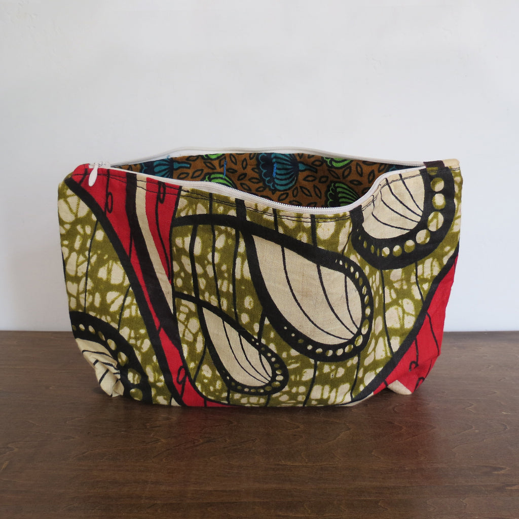 Green, Black & Hot Red African Wax Print Clutch