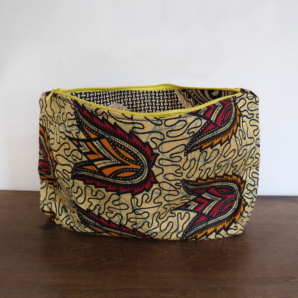 Red, Orange & Pale African Wax Print Clutch