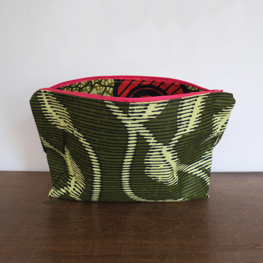 Eco Green African Wax Print Clutch