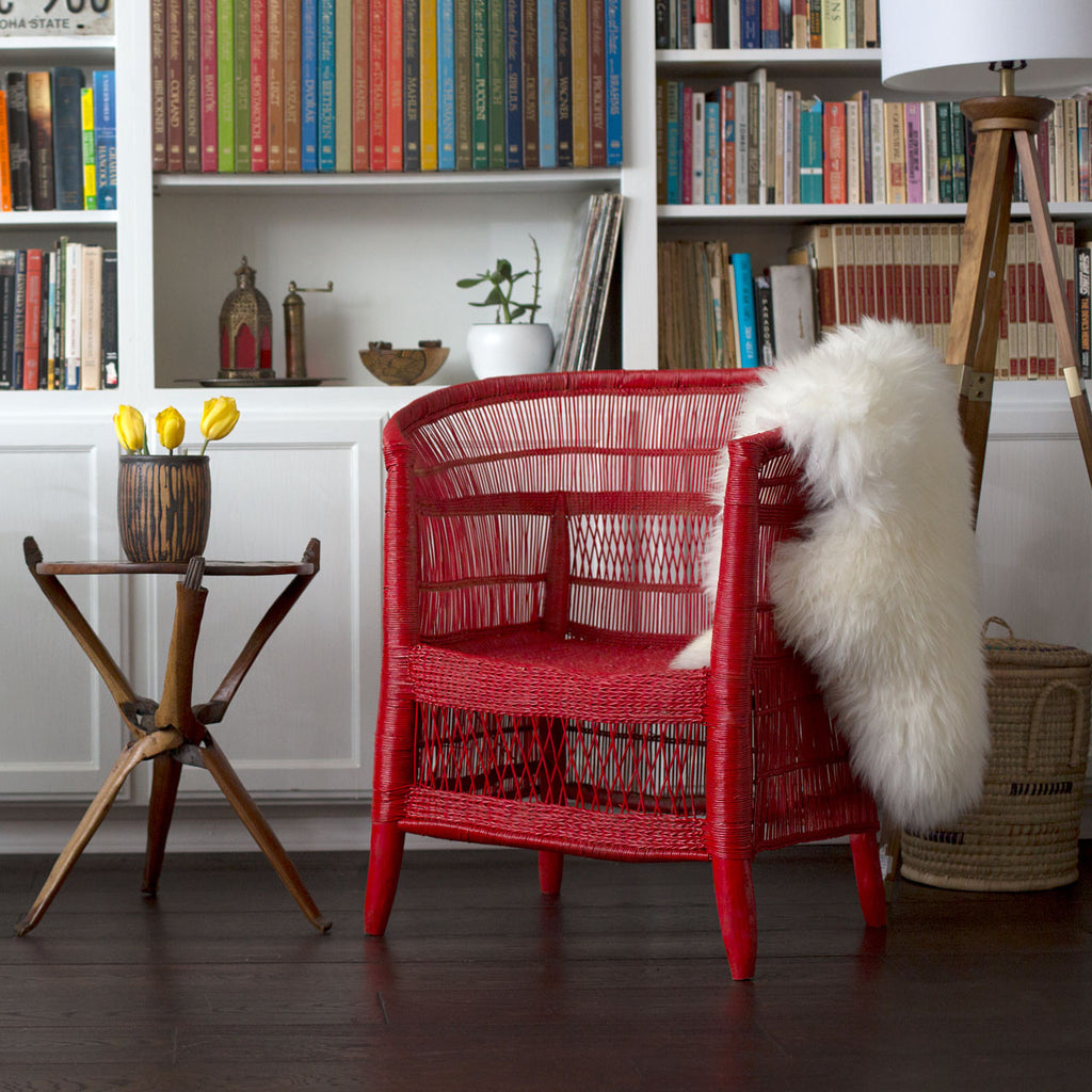 Set of 2 Woven Malawi Chairs - Cherry Red or mix & match