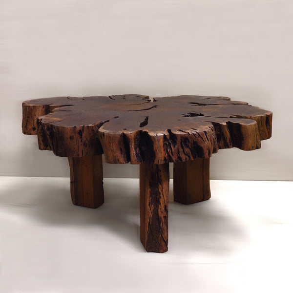 3-Leg Reclaimed African Live Edge Coffee Table
