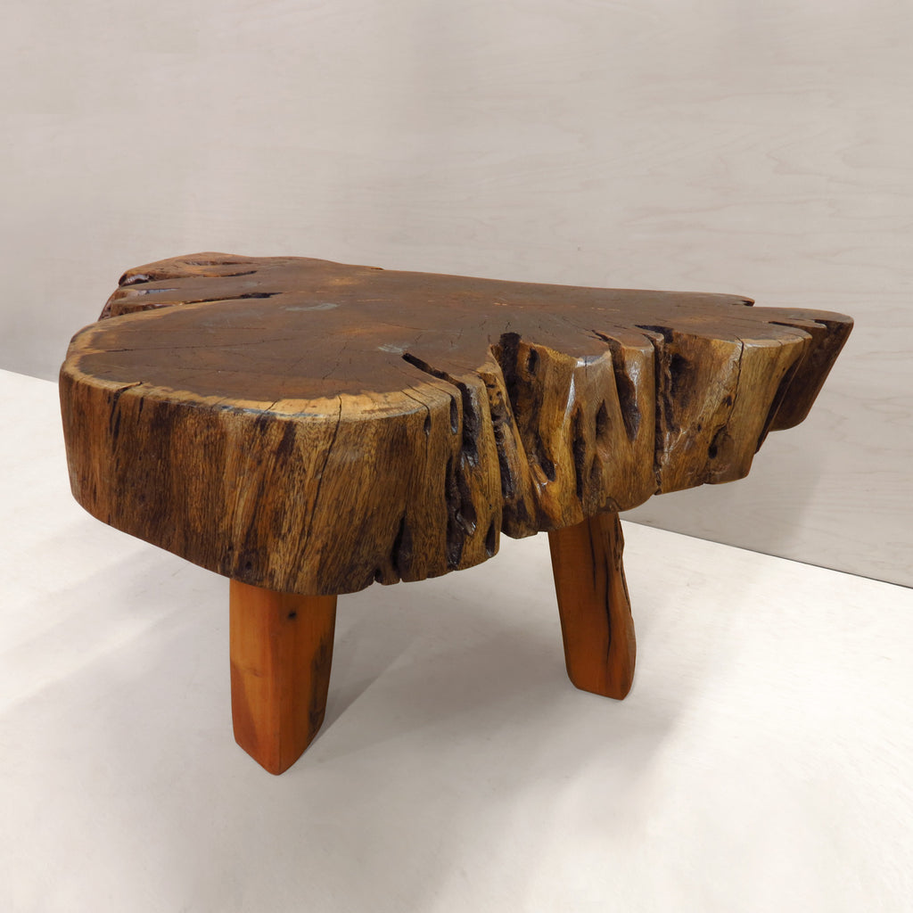"3-Leg Reclaimed African Live Edge Coffee Table - ""Porkchop"""