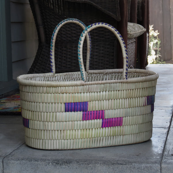 Oblong Basket, Natural with Color Accents