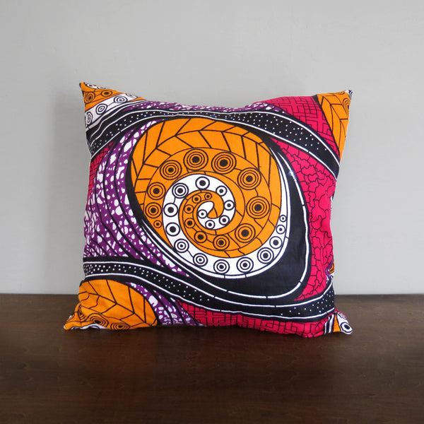 Pink & Orange African Wax Print Pillow