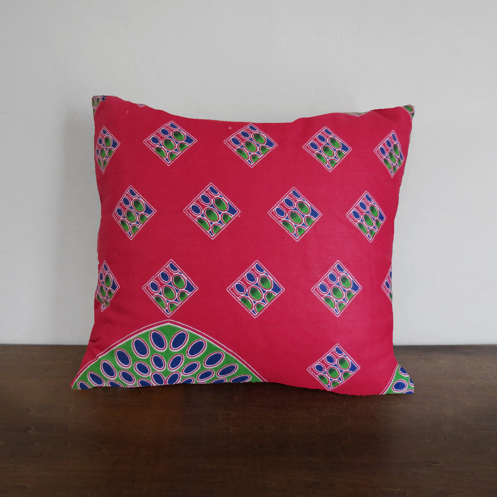 Geometric Pink African Wax Print Pillow