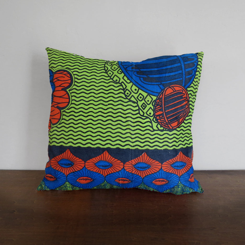 Blue & Green African Wax Print Pillow