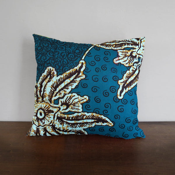 Blue Leaf African Wax Print Pillow