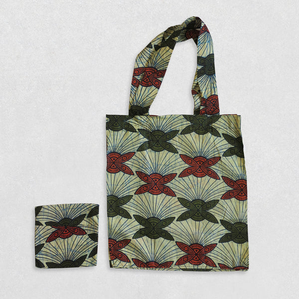 African Wax Print Shopping Bag - Green/Orange Pattern