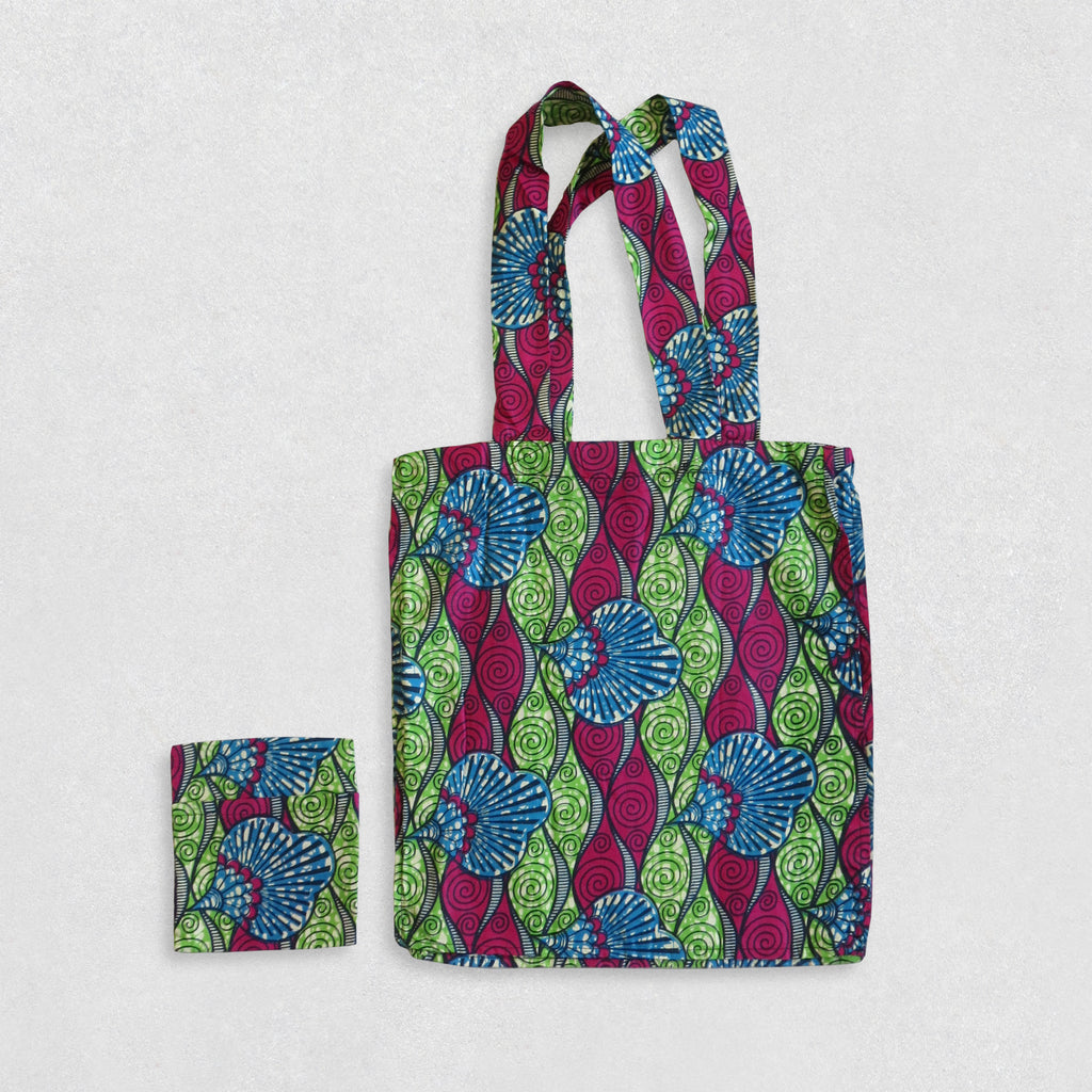 African Wax Print Shopping Bag - Green/Blue/Magenta Pattern