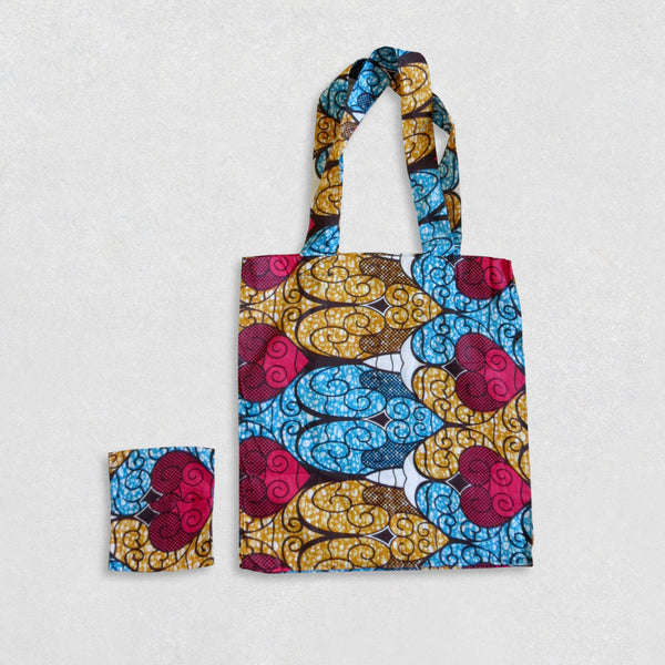 African Wax Print Shopping Bag - Cyan/Gold/Magenta Pattern