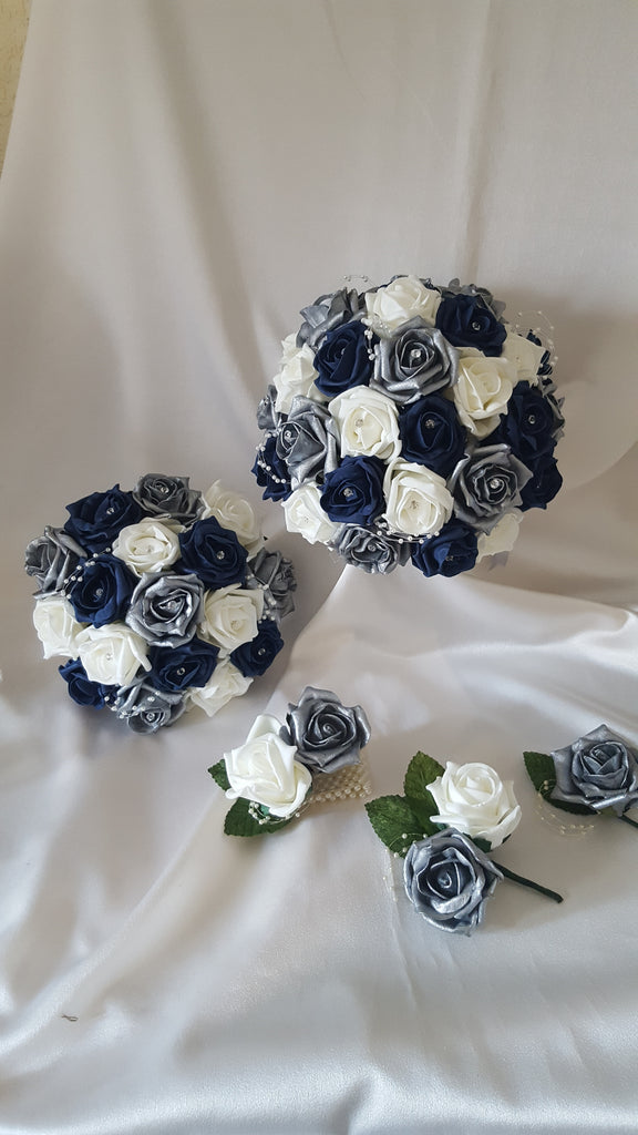 Navy And Silver Wedding Flowers Sara S Fine Flowers