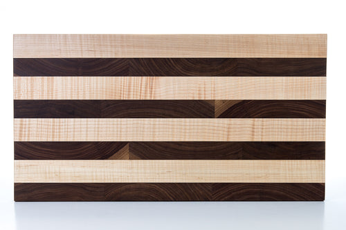 Artisan Cutting Board - End Grain Walnut & Curly Hard Maple