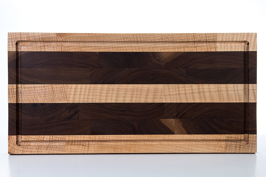 Butcher Block - End Grain Walnut Curly Hard Maple