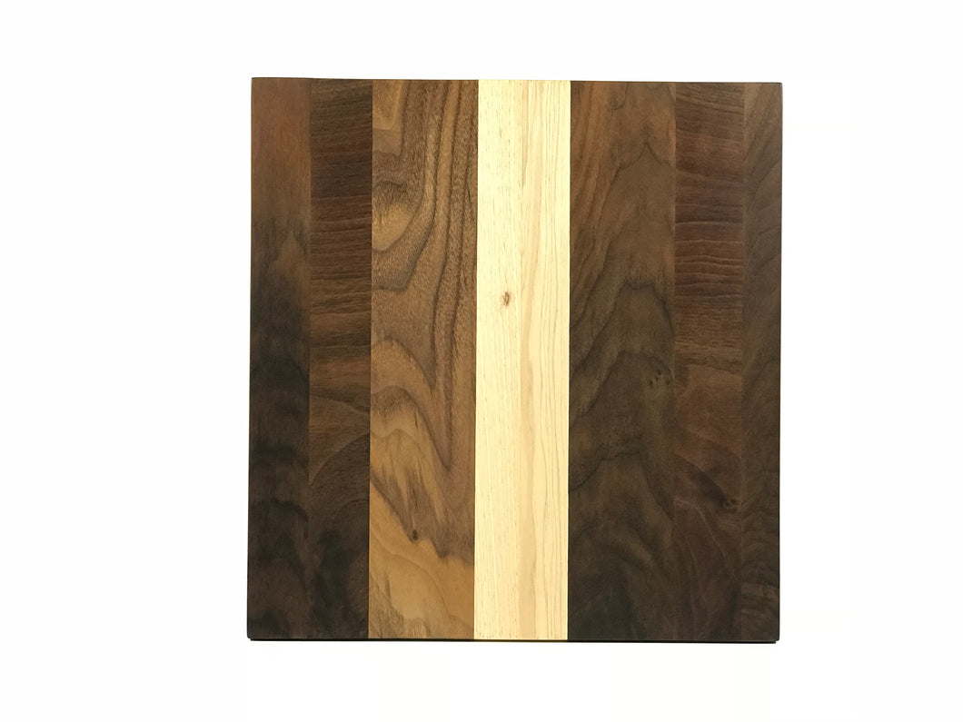 Figured Walnut and Hickory - Manhattan Cutting Board