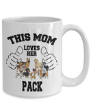 This Mom Loves Her Pack 11 and 15 oz White Novelty Coffee Mugs - Perfect Gift for Dog Lovers - Ceramic Coffee Cup With Sayings Printed On Both Sides - Dog Themed